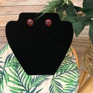 Deadpool Round Stud Earrings One Size